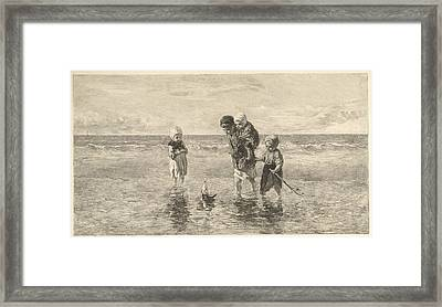 Four Children Playing With Toy Boat On The Beach In Shallow Framed Print by Carel Lodewijk Dake