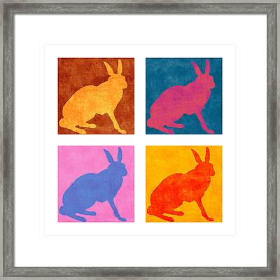 Four Colorful Rabbits Framed Print