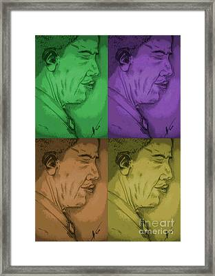 Four Colours Of Obama Framed Print