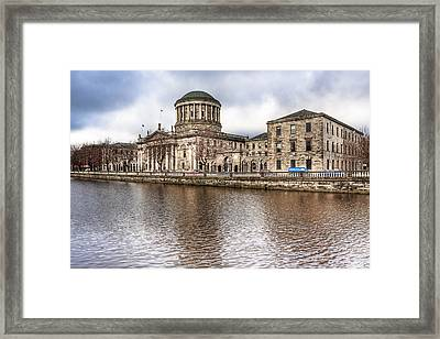 Four Courts On The River Liffey In Dublin Framed Print by Mark E Tisdale