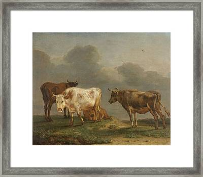 Four Cows In A Meadow Framed Print