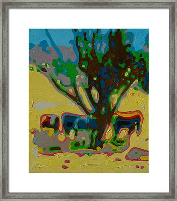 Four Cows Under Tree Oil Painting By Bertram Poole Framed Print by Thomas Bertram POOLE