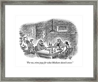Four Criminal Types Sit In A Basement Framed Print