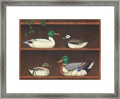 Four Duck Decoys Framed Print by Linda Mears