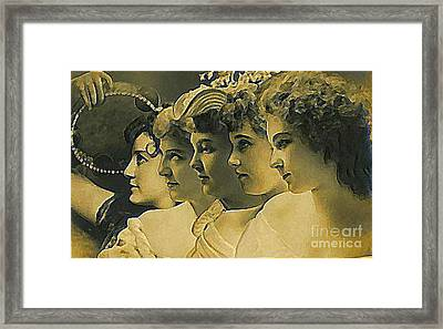 Four Edwardian Actresses In 1910 Framed Print by Dwight Goss