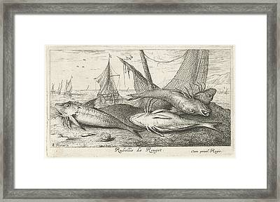 Four Fish On The Beach, Albert Flamen Framed Print by Albert Flamen