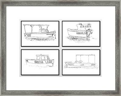 Four Fishing Boats Of Aruba Framed Print