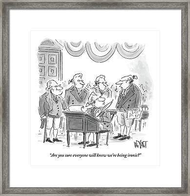 Four Founding Fathers Discuss The Writing Framed Print