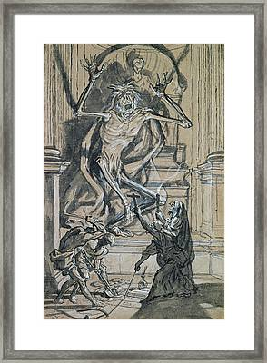 Four Grave Robbers Awaken A Ghost Framed Print by Joseph Werner
