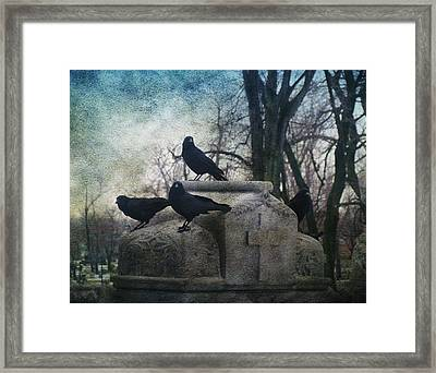 Four Graveyard Crows Framed Print by Gothicrow Images