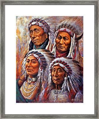Four Great Lakota Leaders Framed Print by Harvie Brown