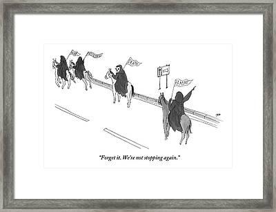 Four Hooded Horsemen Ride Down A Street. The One Framed Print