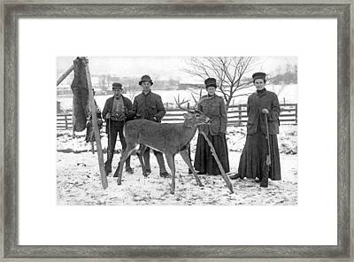 Four Hunters And Their Game. Framed Print