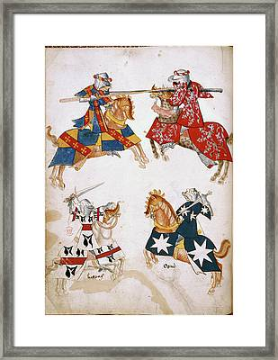 Four Knights Jousting Framed Print