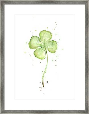 Four Leaf Clover Lucky Charm Framed Print by Olga Shvartsur
