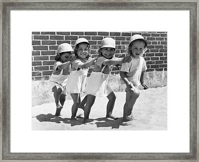 Four Little Girls Having Fun Framed Print by Underwood Archives