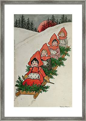 Four Little Girls On A Sledge  Framed Print by Florence Hardy