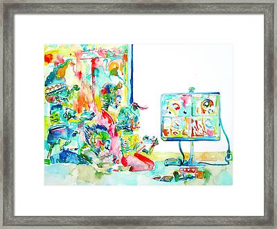 Four Little Skeletons Playing Videogames -multiplayer Style Framed Print