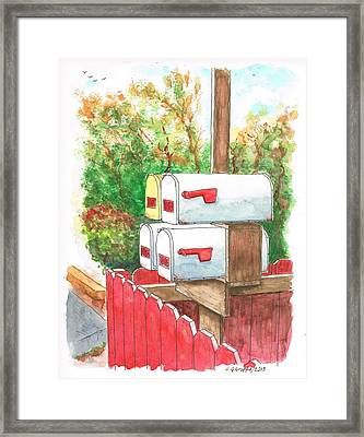 Four Mail Boxes Near A Picket Fence In Laguna Beach, California Framed Print by Carlos G Groppa