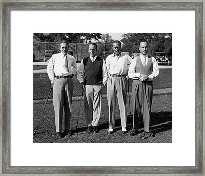 Four Men On A Golf Course Framed Print by Artist Unknown
