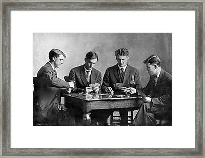 Four Men Playing Cards Framed Print by Underwood Archives
