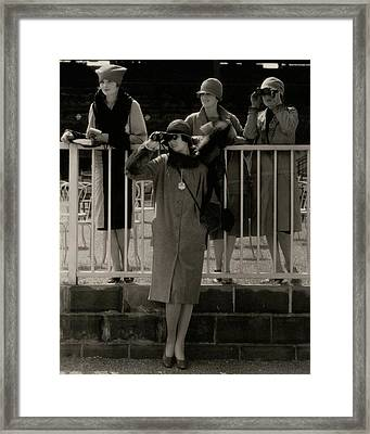 Four Models At The Belmont Race Track Framed Print by Edward Steichen