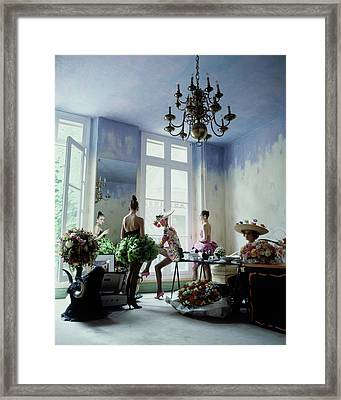 Four Models Inside Christian Lacroix's Studio Framed Print by Arthur Elgort