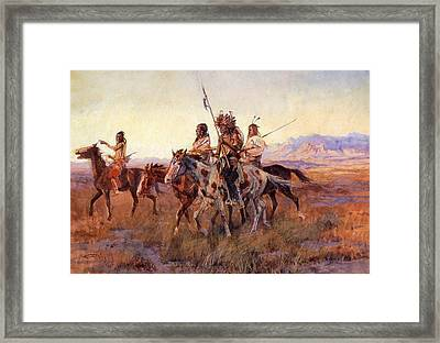 Four Mounted Indians Framed Print by Charles Russell