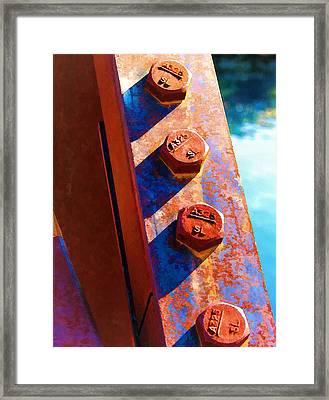 Four On A Bridge Framed Print
