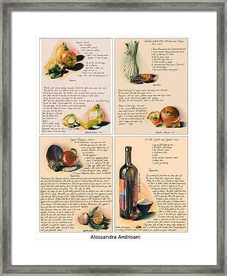 Four Painted Recipes Framed Print by Alessandra Andrisani