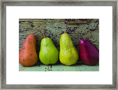 Four Pears Framed Print by Garry Gay