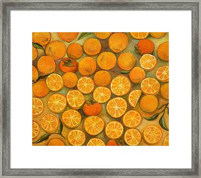Four Persimmons Framed Print