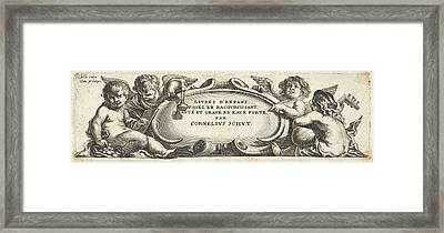 Four Putti Around A Cartouche, Print Maker Anonymous Framed Print by Cornelis Schut I