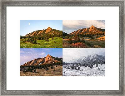Four Seasons - The Flatirons Framed Print by Aaron Spong