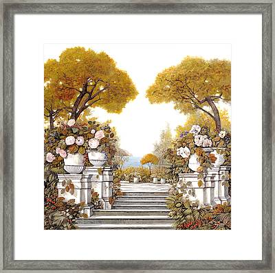 four seasons-autumn on lake Maggiore Framed Print by Guido Borelli