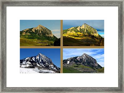 Four Seasons Of Mt. Crested Butte Framed Print by Mike Schmidt