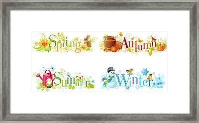 Four Seasons Spring, Summer, Autumn Framed Print by O-che