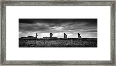Four Stones Of Brodgar Framed Print by Dave Bowman