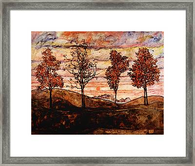 Four Trees Framed Print by Celestial Images
