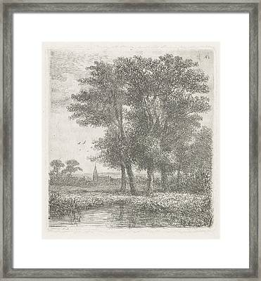 Four Trees In A Fen, Hermanus Jan Hendrik Van Framed Print