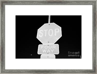 four way stop sign with crosswalk Canada Framed Print by Joe Fox