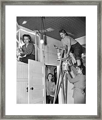 Four Women Fix Up Home Framed Print by Underwood Archives