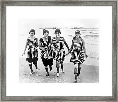 Four Women In 1910 Beach Wear Framed Print by Underwood Archives