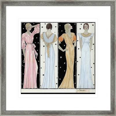 Four Women In Designer Evening Gowns Framed Print by Georges Lepape