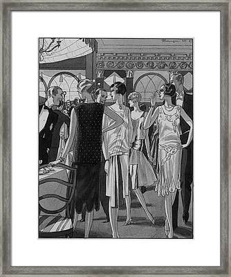 Four Women In Evening Wear Framed Print by Pierre Mourgue