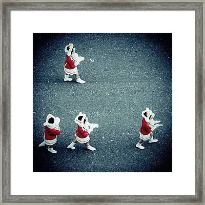 Four Women In Uniforms Marching Framed Print by Matthias Hauser