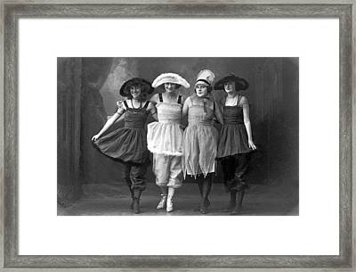 Four Women On Vaudeville Stage Framed Print by -