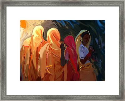 Four Women Framed Print by Shubnum Gill
