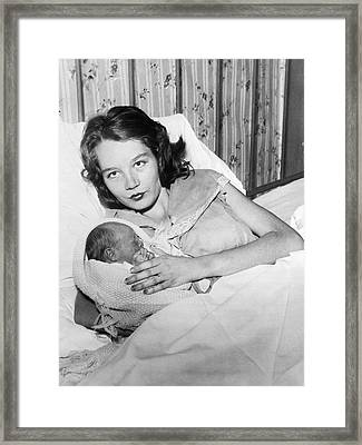 Fourteen Year Old Mother Framed Print by Underwood Archives