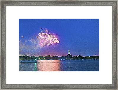 Fourth Of July Fireworks Along The Potomac Framed Print